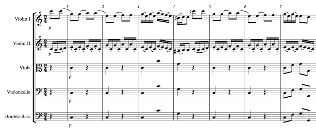 Mozart: Piano Concerto No. 25, Movement 3, Measures 1-7